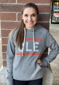 Cleveland Grey Block Long Sleeve Fleece Hood Sweatshirt