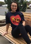 Kansas City Monarchs Rally Heart Kansas City Fashion T Shirt - Navy Blue