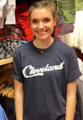 Cleveland Navy Sign Wordmark Short Sleeve T Shirt