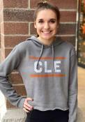 Cleveland Womens Grey CLE Block Long Sleeve Hood Sweatshirt