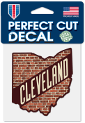 Cleveland 4x4 Brick State Shape Auto Decal - Brown