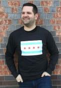 Chicago City Flag Heather Black Long Sleeve T-Shirt