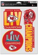 Kansas City Chiefs Super Bowl LIV Champions 3pk Fan Auto Decal - Red