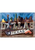 Dallas Ft Worth Skyline 3x4 Metal Magnet