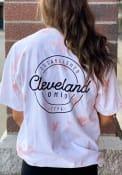 Cleveland Women's Rose Quartz Tie Dye Wordmark Short Sleeve T Shirt
