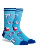 Texas Rangers Panel Crew Socks - Light Blue
