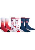 St Louis Cardinals Diamond 3 PK Crew Socks - Red