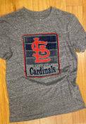 St Louis Cardinals New Era Throwback Brushed T Shirt - Grey