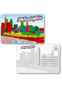 Philadelphia Skyline Shape Cut Paper Postcard