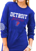 Detroit Pistons Womens Gameday Couture Pride Patch Crew Neck T-Shirt - Blue