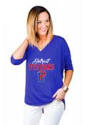 Detroit Pistons Womens Gameday Couture Weekender Dropped Hem V Neck T-Shirt - Blue