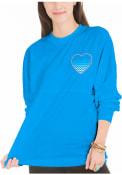 Detroit Womens Light Blue Football Long Sleeve T Shirt