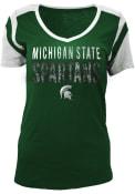 Michigan State Spartans Womens Green Slub V-Neck