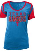 Texas Rangers Womens Blue Slub V-Neck