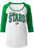 Dallas Stars Womens Athletic White Scoop Neck Tee