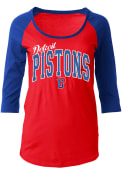 Detroit Pistons Womens Athletic Red Scoop Neck Tee