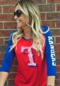 Texas Rangers Womens Athletic Red Scoop Neck Tee
