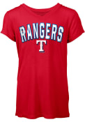 Texas Rangers Womens Red Athletic T-Shirt