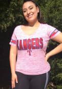 Texas Rangers Womens Red Novelty V-Neck