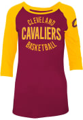Cleveland Cavaliers Womens Jersey 3/4 Slv Scoop Red LS Tee