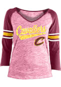 Cleveland Cavaliers Womens Athletic Space Dye 3/4 V Neck T-Shirt - Red