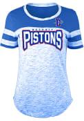 Detroit Pistons Womens Athletic Space Dye Rhinestone T-Shirt - Blue