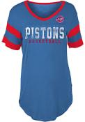 Detroit Pistons Womens Athletic Sleeve Stripe V Neck T-Shirt - Blue
