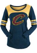 Cleveland Cavaliers Womens Triblend Contrast Yoke Scoop Neck T-Shirt - Navy Blue