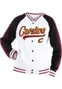 Cleveland Cavaliers Womens Slub Snap Front Varsity Heavy Weight Jacket - White