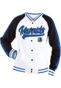 Dallas Mavericks Womens Slub Snap Front Varsity Medium Weight Jacket - White