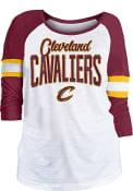 Cleveland Cavaliers Womens Slub Glitter 3/4 Scoop Neck T-Shirt - White