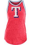 Texas Rangers Womens Tri-Blend Stripe Trim Tank Top - Red