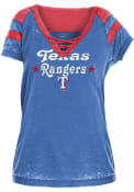Texas Rangers Womens Washes Lace Up Burnout T-Shirt - Blue