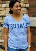 Kansas City Royals Womens Novelty Space Dye V T-Shirt - Blue