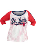 St Louis Cardinals Womens Plus Pinstripe Raglan T-Shirt - White