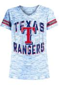 Texas Rangers Girls Space Dye Striped Fashion T-Shirt - Blue