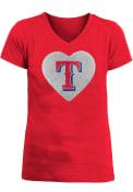 Texas Rangers Girls Flip Sequin Heart Fashion T-Shirt - Red