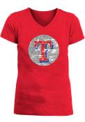 Texas Rangers Girls Sequin Ball Fashion T-Shirt - Red