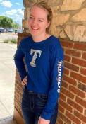 Texas Rangers Womens Athletic Foil Crop Crew T-Shirt - Blue