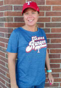 Texas Rangers Womens Tri-Blend Retro Scoop T-Shirt - Blue