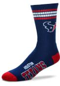 Houston Texans 4 Stripe Deuce Crew Socks - Blue