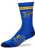 St Louis Blues Youth 4 Stripe Deuce Crew Socks - Blue