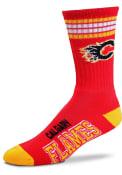 Calgary Flames 4 Stripe Deuce Crew Socks - Red