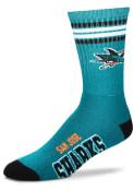San Jose Sharks 4 Stripe Deuce Crew Socks - Teal