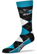 San Jose Sharks Team Logo Argyle Socks - Teal