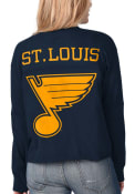 St Louis Blues Womens Fight Song Cropped Crew T-Shirt - Navy Blue